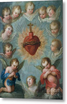 Sacred Heart Of Jesus Surrounded By Angels Metal Print