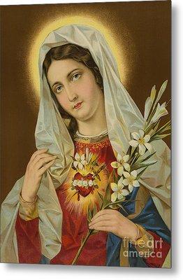 Sacred Heart Of The Virgin Mary Metal Print by European School
