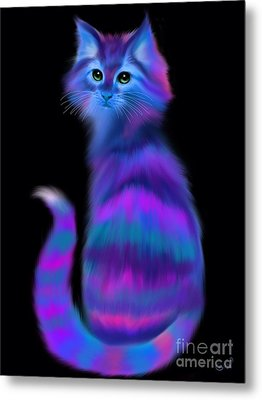 Metal Print featuring the painting Sad Eyed Colorful Cat by Nick Gustafson