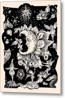 Sad Moon Metal Print by Theresa Taylor Bayer