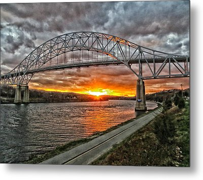 Sagamore Bridge Sunset Metal Print by Constantine Gregory