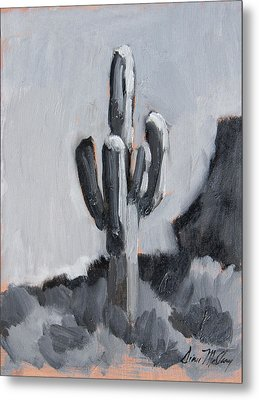Metal Print featuring the painting Saguaro Plein Air Study by Diane McClary