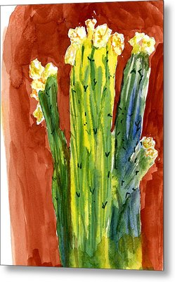 Metal Print featuring the painting Saguaros And Their Hats by Marilyn Barton