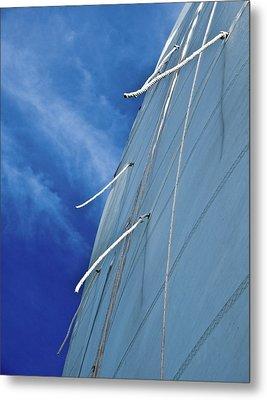 Sail And Blue Clouds Portrait Metal Print