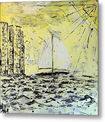 Metal Print featuring the painting Sail And Sunrays by J R Seymour