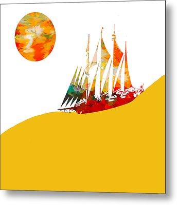 Sail Boat Abstract Metal Print