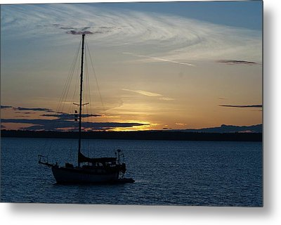 Sail Boat At Sunset Metal Print
