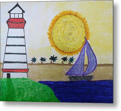 Sail Boat With Purple Sails Metal Print