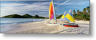 Sail Boats On The Beach, Antigua Metal Print