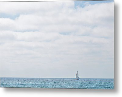 Sail On Blue Metal Print by Peter Tellone