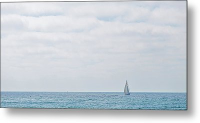 Sail On Blue - Widescreen Metal Print by Peter Tellone