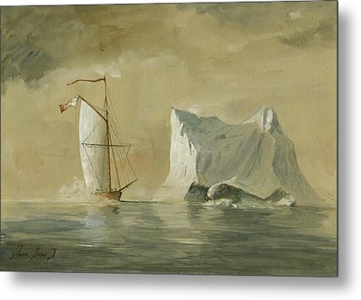 Sail Ship At The Ice Metal Print by Juan Bosco