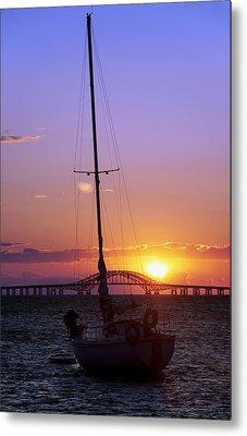 Sailboat And The Bridge At Sunrise Metal Print by Vicki Jauron