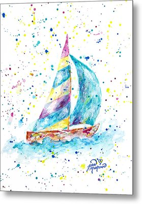 Sailboat By Jan Marvin Metal Print