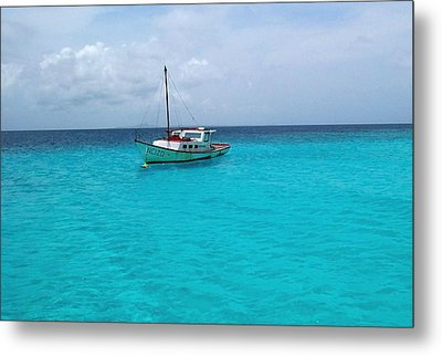 Sailboat Drifting In The Caribbean Azure Sea Metal Print
