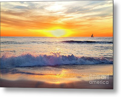 Sailboat Gliding  By Marine Street Beach, La Jolla, California Metal Print by Julia Hiebaum