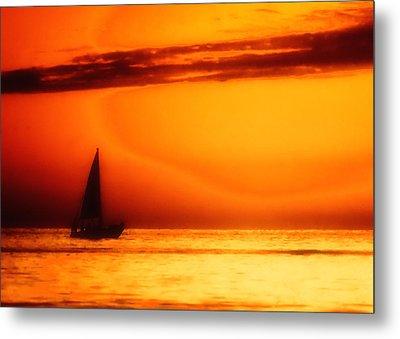 Sailboat In Orange Metal Print by Lyle  Huisken