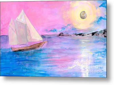 Sailboat In Pink Moonlight  Metal Print