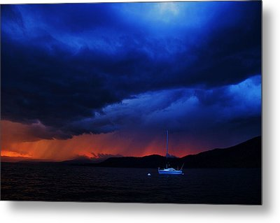 Metal Print featuring the photograph Sailboat In Thunderstorm by Sean Sarsfield