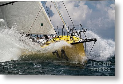 Sailboat Le Pingouin Open 60 Charging  Metal Print by Dustin K Ryan