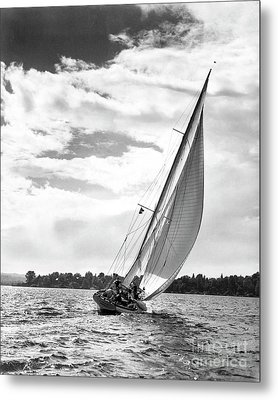 Sailboat Off Shore Metal Print by Ewing Galloway