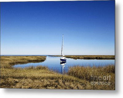 Sailboat On Cape Cod Bay Metal Print by John Greim