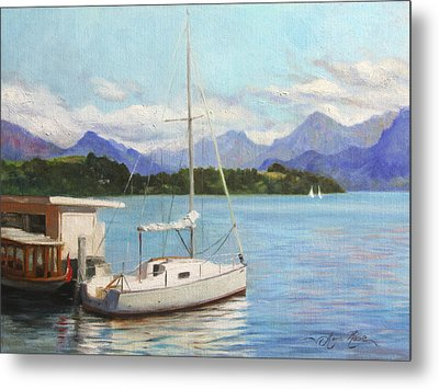 Sailboat On Lake Lucerne Switzerland Metal Print by Anna Rose Bain