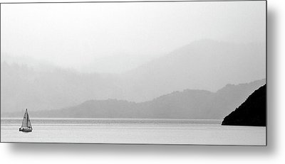 Sailboat On New Zealands Cook Strait Metal Print by Mark Duffy