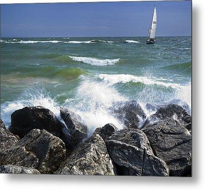 Sailboat Sailing Off The Shore At Ottawa Beach State Park Metal Print
