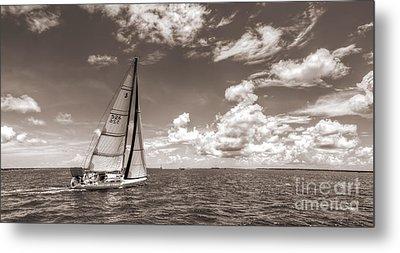 Sailboat Sailing On The Charleston Harbor Sepia Beneteau 40.7 Metal Print by Dustin K Ryan