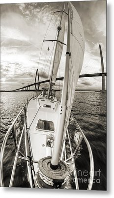 Sailboat Sailing Past Arthur Ravenel Jr Bridge Charleston Sc Metal Print