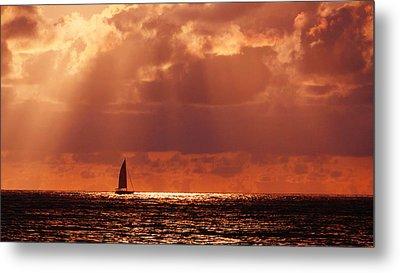 Sailboat Sun Rays Metal Print