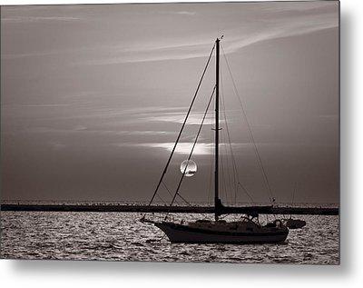 Sailboat Sunrise In B And W Metal Print by Steve Gadomski