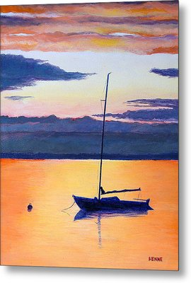 Sailboat Sunset Metal Print by Robert Henne
