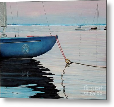 Sailboat Tied Metal Print by Marilyn  McNish
