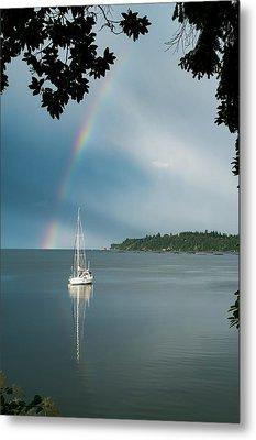 Sailboat Under The Rainbow Metal Print by Mary Lee Dereske
