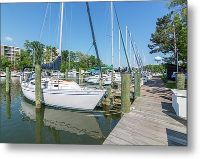 Metal Print featuring the photograph Sailboats At Dock by Charles Kraus