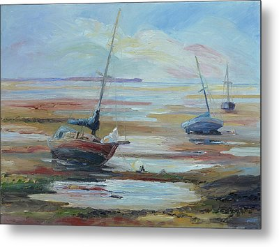Sailboats At Low Tide Near Nelson, New Zealand Metal Print by Barbara Pommerenke