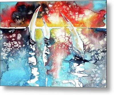 Sailboats At The Sunshine Metal Print by Kovacs Anna Brigitta