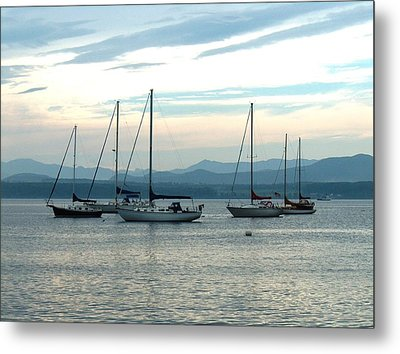 Sailboats Docked Metal Print