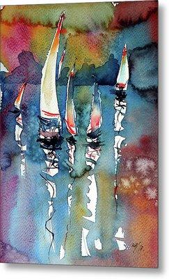 Metal Print featuring the painting Sailboats II by Kovacs Anna Brigitta