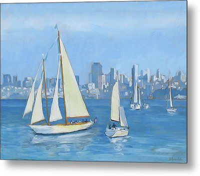 Sailboats In Sausalito Metal Print