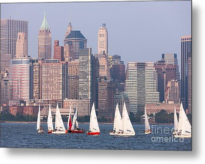 Sailboats On The Hudson II Metal Print by Clarence Holmes