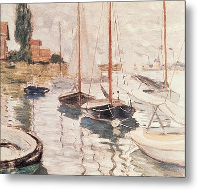 Sailboats On The Seine Metal Print by Claude Monet