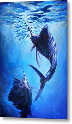 Sailfish And Ballyhoo Metal Print by Tom Dauria