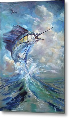 Sailfish And Frigate Metal Print by Tom Dauria