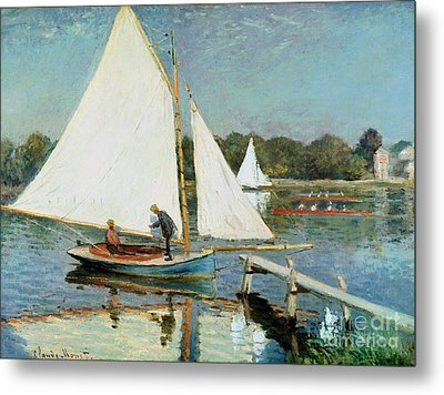 Sailing At Argenteuil Metal Print by Claude Monet