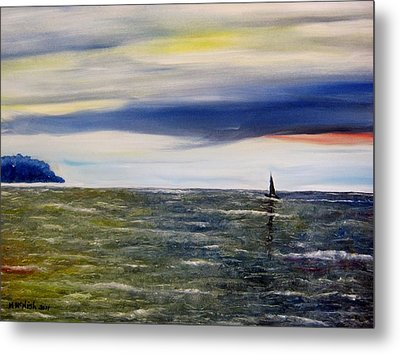 Sailing At Dusk Metal Print by Marilyn  McNish