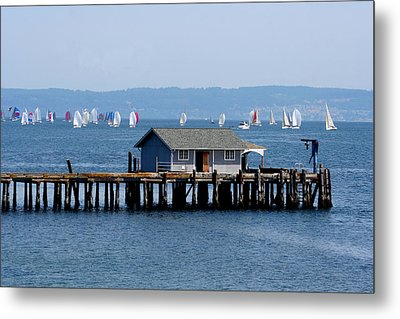Sailing At Penn Cove Metal Print by Mary Gaines