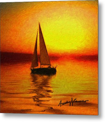 Sailing At Sunset Metal Print by Anthony Caruso